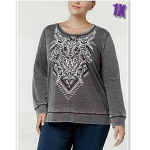 NWT Style & Co Macy's Embosed Sweatshirt 1X